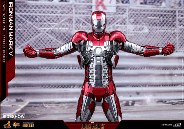 Hot Toys 2017 Iron Man Mark 5 Suitcase Armor Die-Cast Figure Chrome